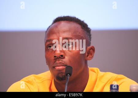 Glasgow, Scotland, UK. 26th July, 2014. Commonwealth Games day 3. Usain Bolt and Team Jamaica press conference. - Stock Photo