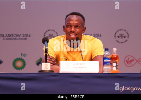 SECC Precinct, Glasgow, Scotland, UK, Saturday, 26th July, 2014. Usain Bolt of Team Jamaica attending a Press Conference - Stock Photo