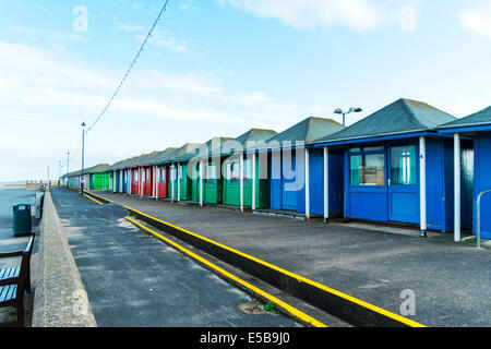 Sutton On Sea Chalets beach changing rooms wooden shacks buildings Lincolnshire UK England Beach, Huts, Coast, Sandilands, - Stock Photo
