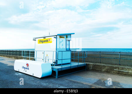 Sutton On Sea Lifeguards lifeguard station lookout hut beach wooden shack building Lincolnshire UK England - Stock Photo