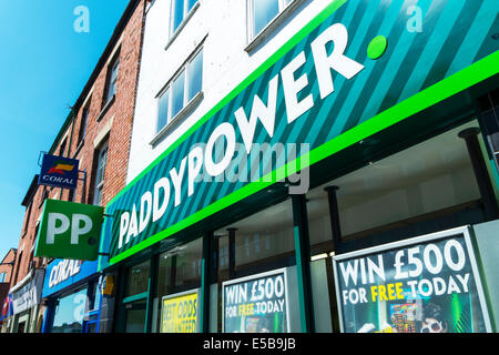 PaddyPower  Paddy Power Bookmaker front betting shop gambling high street UK - Stock Photo
