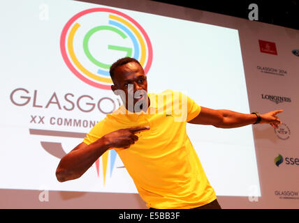 Glasgow. 26th July, 2014. Usain Bolt of Jamaica attends a press conference on day 3 of the Glasgow 2014 Commonwealth - Stock Photo