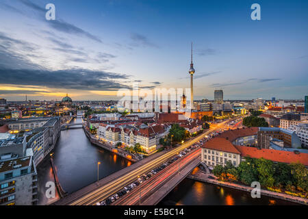 Berlin, Germany city skyline at dusk. - Stock Photo