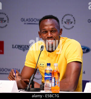 SSE Hydro Glasgow, Scotland, UK. 26th July, 2014.  Commonwealth Games day 3. Usain Bolt press conference Credit: - Stock Photo