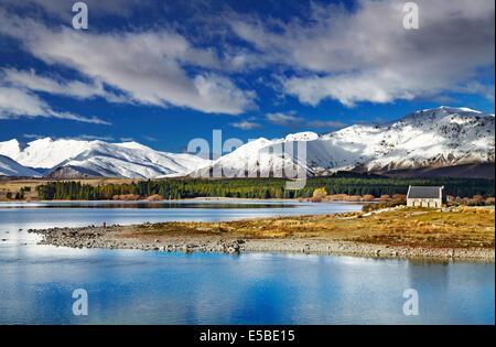 Lake Tekapo and Church of the Good Shepherd, New Zealand - Stock Photo