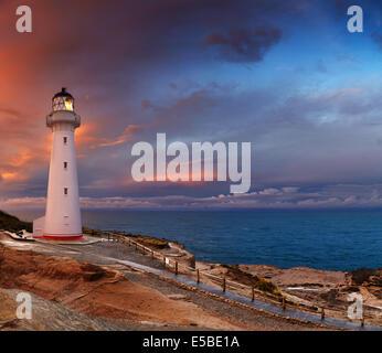Castle Point Lighthouse, sunset, Wairarapa, New Zealand - Stock Photo