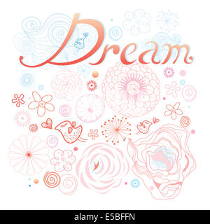 Graphic inscription dream on a floral background with birds in love. wedding invitatio - Stock Photo