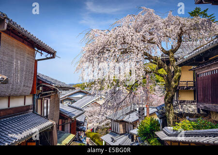 Kyoto, Japan at the Higashiyama district in the springtime. - Stock Photo