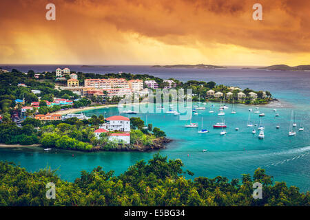 St. John, US Virgin Island at Cruz Bay. - Stock Photo