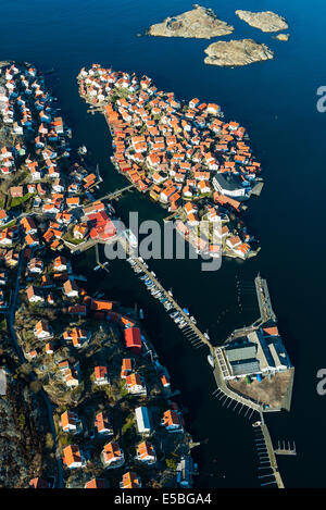 Aerial view of Orust village, Sweden - Stock Photo