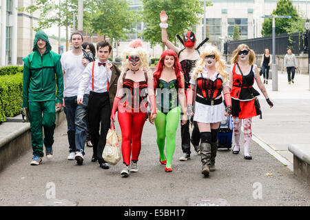 Belfast, Northern Ireland. 26 Jul 2014 - Cosplayers take to Belfast streets to highlight bullying of children. Credit: - Stock Photo