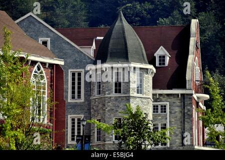 BAI LU TOWN, CHINA:  Handsome European-styled buildings with a French influence at the south entrance to the village - Stock Photo
