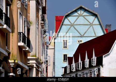BAI LU TOWN, CHINA:  View along one of the village streets with its handsome French-inspired buildings - Stock Photo