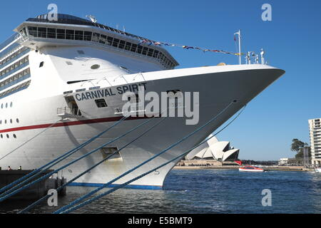 Cruise liner ship, Carnival Spirit, visiting Sydney and moored at Circular quay,Sydney,australia - Stock Photo