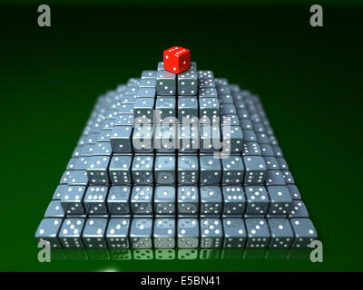 Pyramide made of dice on game table in a casino - Stock Photo