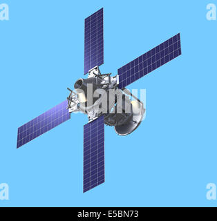 Space ship on blue background - Stock Photo