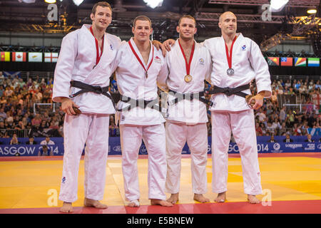 Glasgow, Scotland. 26th July, 2014. 2014 Commonwealth Games. Judo medal contests men u90 kilo medalists. Credit: - Stock Photo
