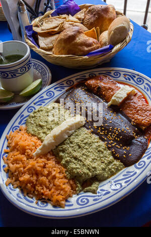 Mole Poblano over enchiladas along with other moles, pipian and adobo.  Mole Poblano is a famous dish from Puebla, - Stock Photo