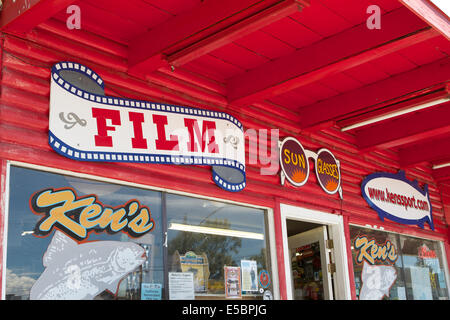 Camera film sign outside a sporting store in Bridgeport California - Stock Photo