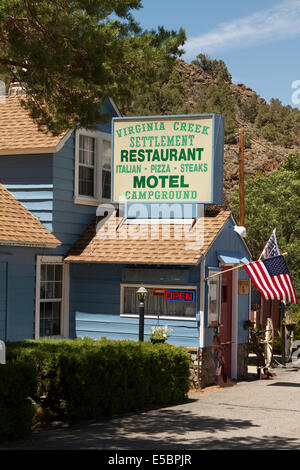 Virginia creek settlement , motel restaurant and campground on Highway 395 about 1 mile from Bodie Ghost town state - Stock Photo