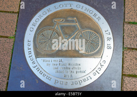Pavement Plaque For George Lott Ginger Cycle Trader And Manufacturer Parson's Street Banbury Oxfordshire UK - Stock Photo