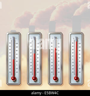 Illustrative image of thermometers showing rising temperatures with smoke emitting from chimneys representing global - Stock Photo
