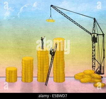 Illustrative image of businessmen constructing coin bar graph representing business development - Stock Photo