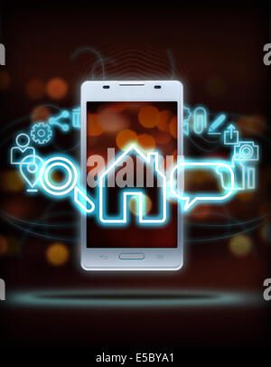 Illustration of various mobile applications rotating around smart phone over colored background - Stock Photo