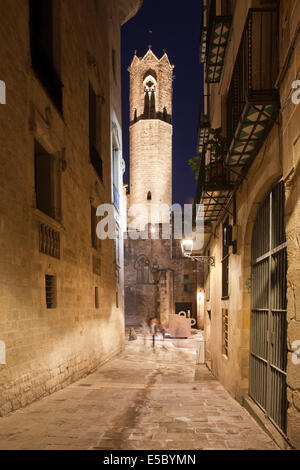 Bell tower of the Royal Chapel of St. Agatha at night in the Gothic Quarter (Barri Gotic) of Barcelona in Catalonia, - Stock Photo
