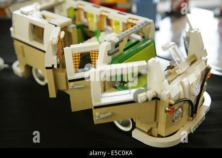 York, UK, 27 July 2014. Lego model of a classic Volkswagen campervan on display at the annual York Lego Show at - Stock Photo