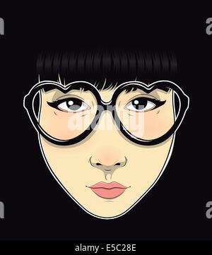 Illustration of trendy teenage girl wearing heart shape glasses against black background - Stock Photo