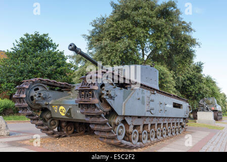 Churchill crocodile Mark VII tank armed with flame-thrower showing the hooded flame projector nozzle next to the - Stock Photo