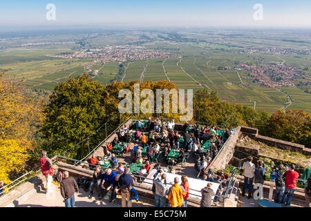 Panorama view from rietburg castle, rhodt unter rietburg, german wine route, pfalz, rhineland-palatinate, germany - Stock Photo