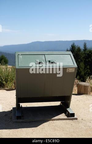 Bear safe trash receptacle. Bear safe trash can. - Stock Photo