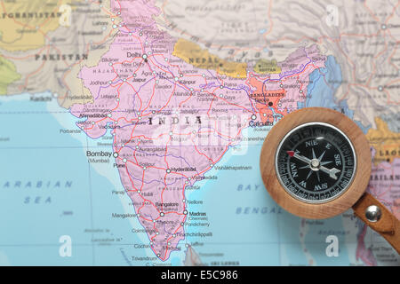 Compass on india map stock photo 23962837 alamy compass on a map pointing at india and planning a travel destination stock photo gumiabroncs Images