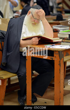 Religious Jewish man at studying Talmud at a synagogue in the Crown Heights section of Brooklyn, New York - Stock Photo