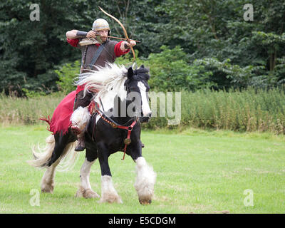 A  demonstration of typical Imperial Roman cavalry weapons and tactics given at the site of Binchester Roman Fort, - Stock Photo