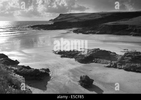 stunning polzeath beach in cornwall england in the late afternoon light - Stock Photo