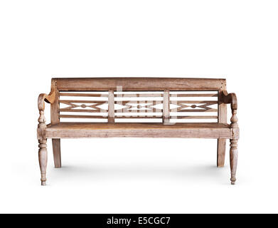 Antique wooden bench isolated on white background - Stock Photo