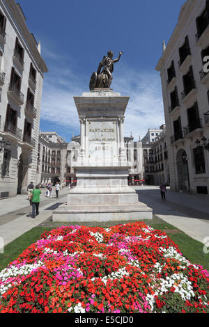 Statue of Cantabrian artillery captain Pedro Velarde y Santillan, hero of the Spanish war of independence in Santander, - Stock Photo