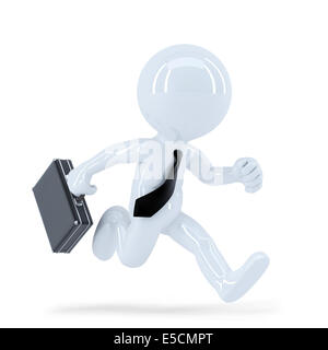 Running businessman. Isolated. Contains clipping path - Stock Photo