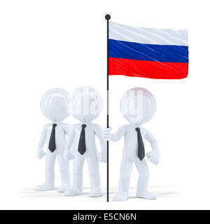 Business team holding flag of Russia. Isolated. Contains clipping path - Stock Photo