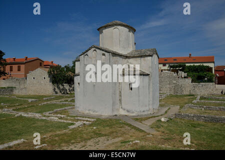 Church of the Holy Cross or Crkva svetog Križa, smallest cathedral in the world, Nin, Zadar County, Croatia - Stock Photo