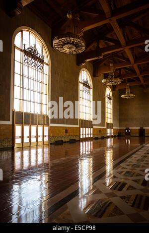 The restored art deco interior of Union Station in Los Angeles, California, USA - Stock Photo