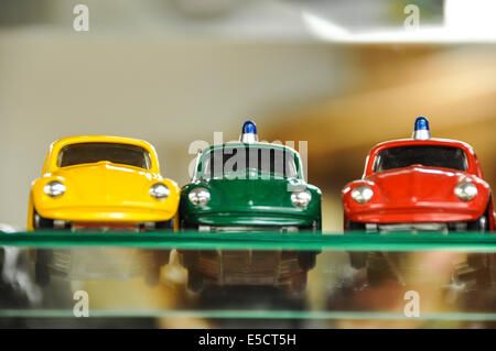 Volkswagen beetle miniature cars in a toy shop in Prague Czech Republic - Stock Photo