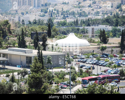 Jerusalem, Israel, Elevated view of The Shrine of the Book at the Israel Museum, focuses on the Dead Sea Scrolls - Stock Photo