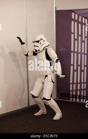 Silly dance by the Star Wars Stormtrooper at Comic Con, May 17,  Barcelona 2014, Catalonia, Spain. - Stock Photo