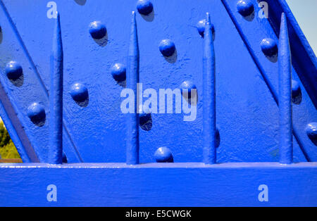Maidstone, Kent, England, UK. Newly-painted blue metalwork on the railway bridge. - Stock Photo