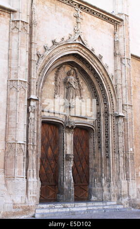 Entrance portal of La Lonja monument in Palma de Mallorca, Spain - Stock Photo