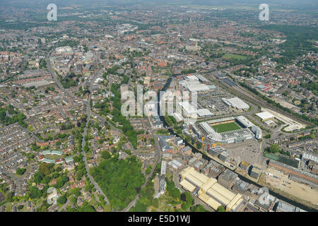 An aerial view looking towards Norwich city centre from the south, with Carrow Road, home of Norwich City FC visible. - Stock Photo